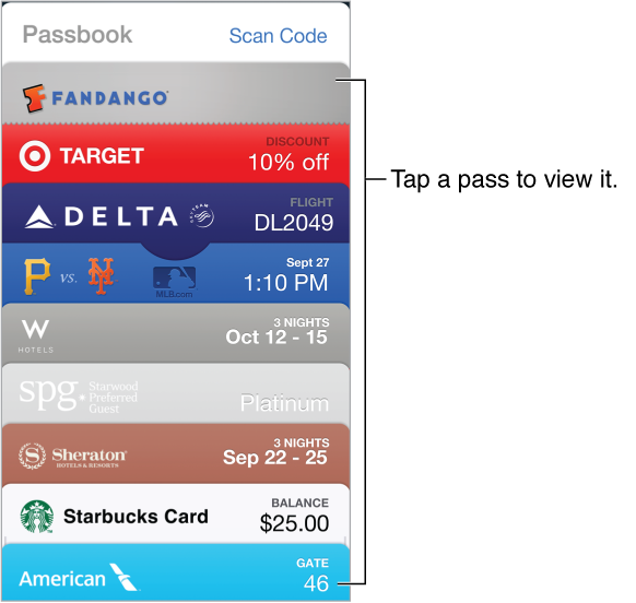 The passbook showing the tops of several passes in a list going down the screen.