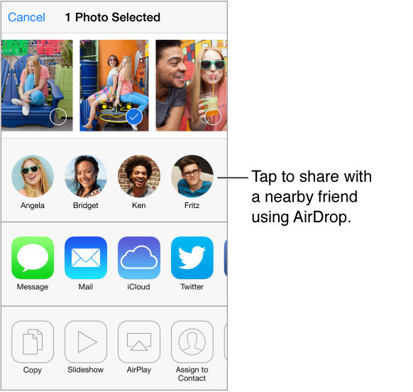Share screen with photos along the top, nearby friends using AirDrop, and options for sharing. Other actions appear along the bottom.