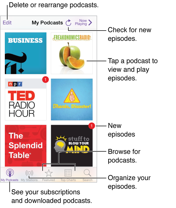 Tap My Podcasts to see your subscriptions and downloaded podcasts. Tap a podcast to list and play episodes. Tap the update button to check for new episodes. Tap Featured or Top Charts at the bottom of the screen to browse for new podcasts.