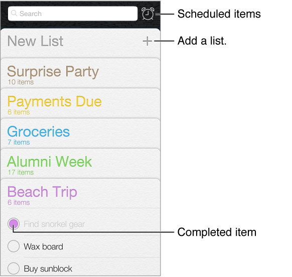 The reminders app. The scheduled button shows reminders with a due date. Completed items are marked. New List creates a new reminders list.