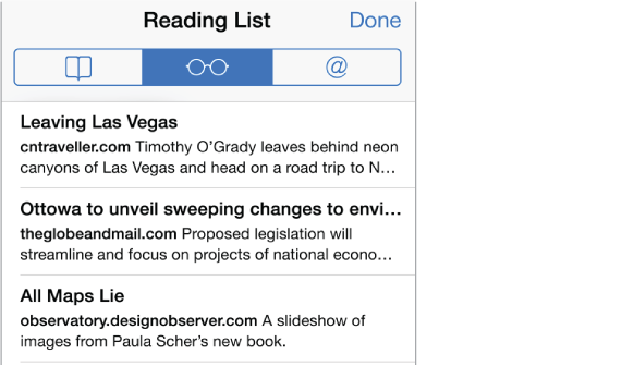 To see a list of pages you've saved, tap the Bookmarks button, then tap the Reading List button.