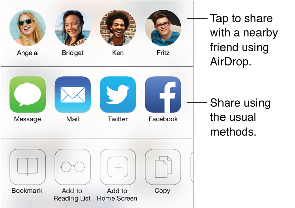 Tap the Share button to share what you find using AirDrop, Message, Mail, Twitter, or Facebook, or add a bookmark, a reading list entry, or a Home screen shortcut. You also use the Share button to copy or print the page.