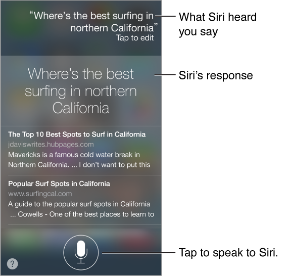 Siri screen showing the text of what Siri heard, Siri's response, and related info. At the bottom-left is the help button, and bottom-center the button you tap to speak to Siri.