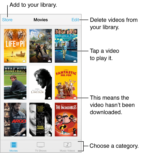 Tap a video to play it. Choose from the video category tabs at the bottom of the screen. Tap the Store button to add to your library. Tap the Edit button to delete videos.