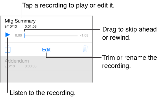 To listen or edit, tap a recording in the list at the bottom of the screen.