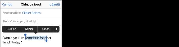 Esimerkkisähköpostiviesti, jossa on tekstiä valittuna. Valinnan yläpuolella ovat Leikkaa-, Kopioi-, Sijoita ja lihavointi/kursivointi/alleviivaus-painikkeet sekä nuoli oikealle -painike. Valittu teksti on korostettu, ja sen molemmissa päissä on tarttumispiste.