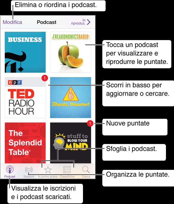 """Tocca """"I miei podcast"""" per visualizzare le iscrizioni e i podcast scaricati. Tocca un podcast per elencare e riprodurre le puntate. Tocca il pulsante Aggiorna per controllare la presenza di nuove puntate. Tocca """"Primo piano"""" o """"Classifiche"""" nella parte inferiore dello schermo per sfogliare nuovi podcast."""