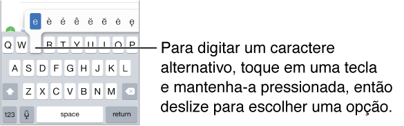 """Tela mostrando os caracteres alternativos da tecla """"e""""."""