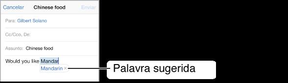 Mensagem de e-mail exibindo as primeiras poucas palavras de uma nova mensagem, com o preenchimento sugerido das palavras sendo digitadas.