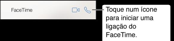 A tela Contatos Cortados com os botões de vídeo e ligação de áudio do FaceTime.