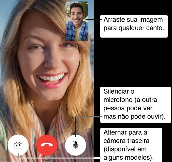 A tela do FaceTime mostrando uma ligação em andamento e o rosto do chamador preenchendo a maior parte da tela. A sua imagem está no canto superior direito. Na parte inferior, da esquerda para a direita, estão os botões Alternar Câmera, Desligar e Mudo.