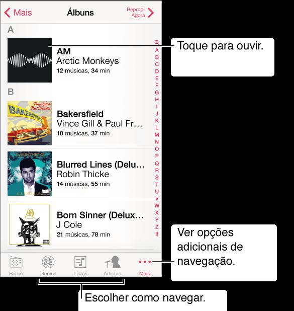 A lista de álbuns. O botão Mais e o botão Reproduzindo Agora estão nos cantos superiores. Toque em um álbum para escutá-lo. Toque no botão Mais para ver opções de navegação adicionais.