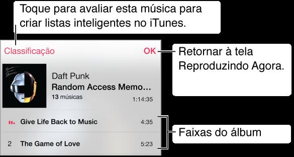 Uma parte da tela Lista de Faixas mostrando faixas da capa do álbum atual. Toque no botão Classificação para classificar a música para a criação de listas inteligentes no iTunes. Toque em Concluído para retornar á tela Reproduzindo Agora.