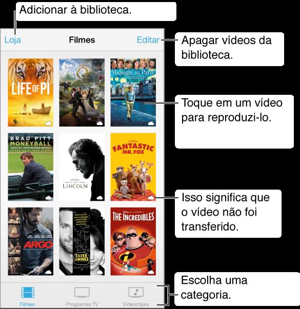 Toque em um vídeo para reproduzi-lo. Escolha das abas de categoria de vídeo da parte inferior da tela. Toque no botão Loja para adicioná-lo à sua biblioteca. Toque no botão Editar para apagar vídeos.