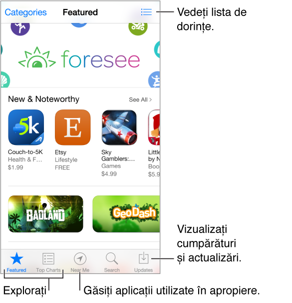 Ecranul recomandat de App Store, ce afișează articolele New & Noteworthy și What's Hot, cu butonul Categories în stânga sus și butonul Wish List în dreapta sus. De-a lungul părții de jos, de la stânga la dreapta, se află filele Browse, Top Charts, Near Me, Search și Updates.