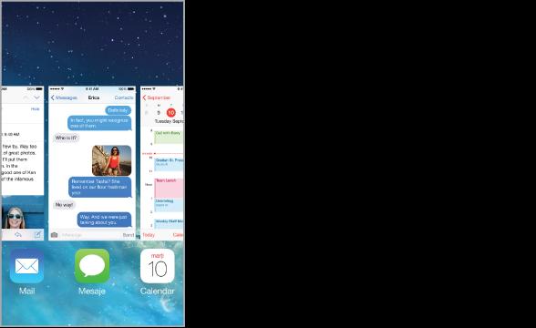 Vizualizarea aplicațiilor care rulează, cu un rând de pictograme de aplicații de-a lungul părții de jos și ecranul curent pentru fiecare aplicație ce apare deasupra pictogramei sale.