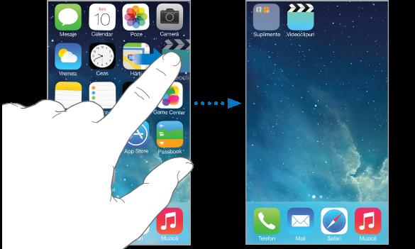 Deget trăgând o aplicație spre marginea dreaptă a ecranului. În partea dreaptă se află un alt ecran principal care prezintă aplicația respectivă pe noul ecran.