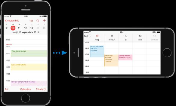 iPhone într-o orientare verticală (portret) prezentând aplicația Calendar în vizualizarea Zi. În partea dreaptă se află iPhone-ul întors pe lungime, prezentând aplicația Calendar în vizualizarea Săptămână..