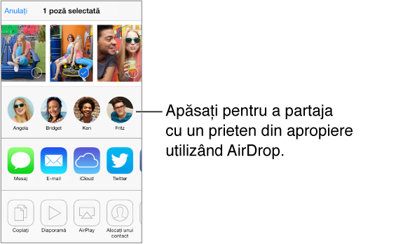 Foaie de partajare de-a lungul părții de sus, cu poze care pot fi selectate. Chipurile utilizatorilor AirDrop din apropiere apare dedesubt și, sub acestea, alte opțiuni de partajare.
