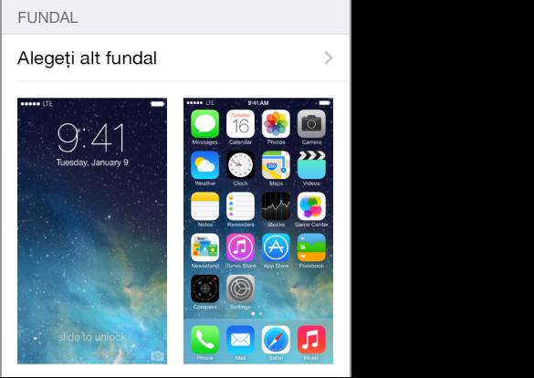 Imaginea ecranului de blocare și a ecranului principal indicând fundalul curent.