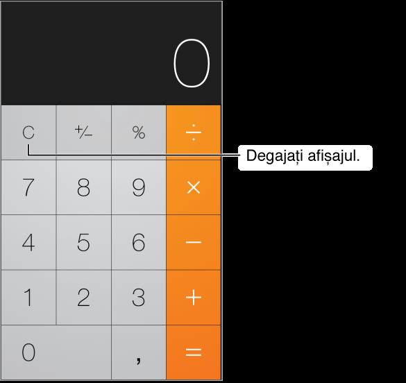 Ecranul aplicației Calculator prezentând funcțiile standard și tastele numerice. Apăsați tasta C pentru a degaja rezultatele.