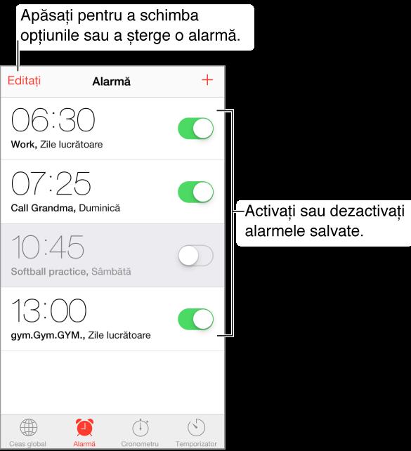 Ecranul Alarmă cu butonul de editare în colțul din stânga sus și butonul de adăugare în colțul din dreapta sus. Patru benzi orizontale afișează alarmele pentru patru scopuri cu comutări activare/dezactivare pentru fiecare alarmă. De-a lungul părții de jos, de la stânga la dreapta, se află filele Ceas global, Alarmă, Cronometru și Temporizator.