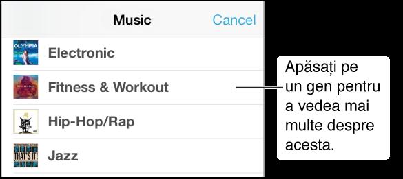 Parte din ecranul Genuri muzicale indicând o submulțime de genuri cu bifă lângă Fitness și exerciții.