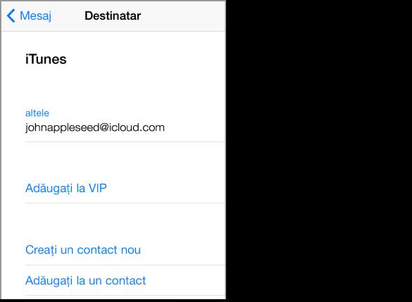 Ecranul Expeditor al unui mesaj, care este afișat atunci când apăsați câmpul Către dintr-un mesaj. Prezintă expeditorul, e-mailul expeditorului și opțiunile de adăugare la VIP, de creare a unui contact nou și de adăugare la un contact existent.