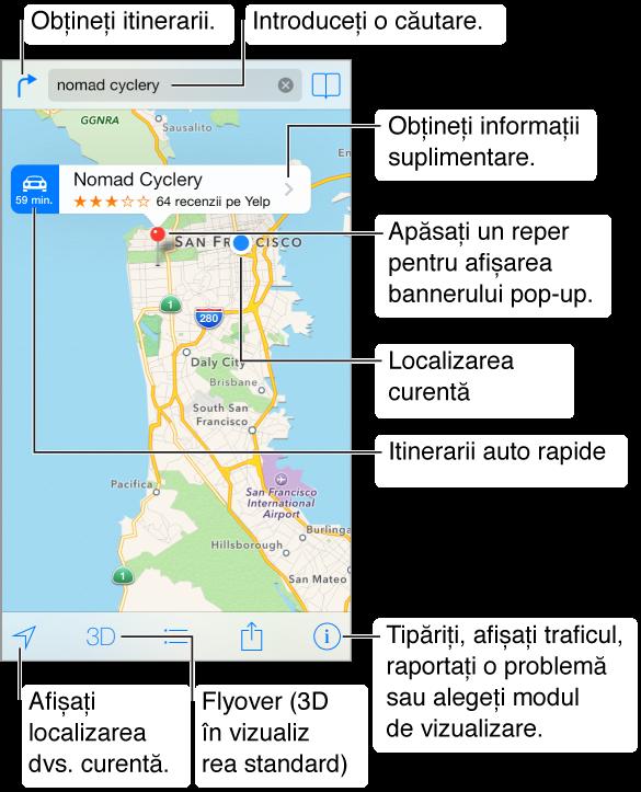 Hărți prezentând un amplasament (indicat printr-un reper roșu). Deasupra reperului se află un banner, cu itinerarele auto rapide în stânga, numele amplasamentului și evaluarea în stele și numărul de recenzii de pe Yelp și butonul de informații suplimentare în dreapta. În partea de sus se află butonul pentru obținerea itinerarelor, câmpul de căutare în centru și butonul de marcare ca favorită în partea din dreapta. De-a lungul părții de jos sunt butoanele de urmărire, vizualizare 3D, itinerar, partajare și configurări.