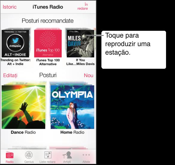 Ecranul iTunes Radio, cu butonul Istoric și în colțul din stângas sus. Lângă partea de sus a ecranului este rândul de posturi recomandate. Sub acestea se află posturile pe care le-ați creat, cu butonul Editați la marginea din centru-stânga a ecranului.