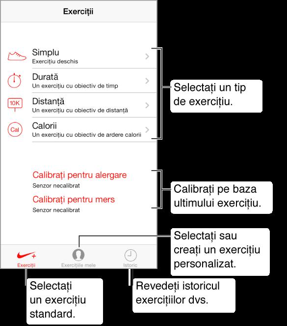 Pentru a începe, alegeți un tip de exercițiu. De sus, există exercițiul simplu, deschis; exercițiul cu obiectiv de timp; exercițiul cu obiectiv de  distanță; și exercițiul cu obiectiv de ardere a caloriilor. În partea de mijloc jos a ecranului se află două butoane pentru calibrare - calibrați pentru alergare și calibrați pentru mers. De-a lungul părții de jos a ecranului se află trei butoane: Exerciții, Exercițiile mele și Istoric.