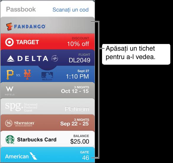Aplicația Passbook prezentând partea superioară a mai multor tichete într-o listă dispusă în josul ecranului.