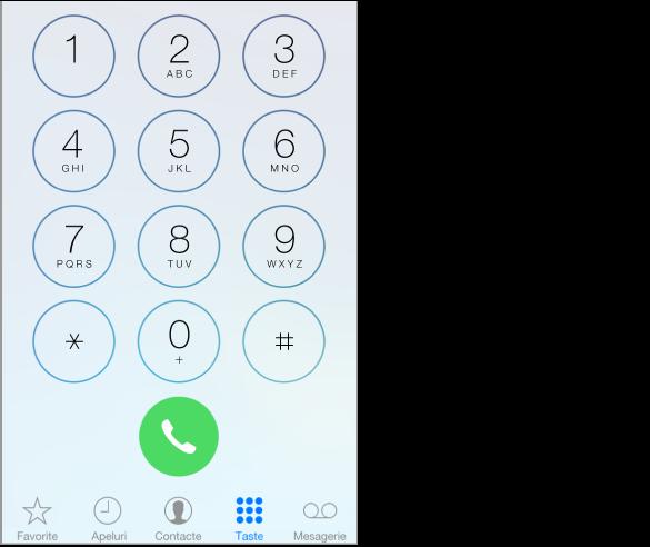 Tastele Telefon cu rândul de file dispuse de-a lungul părții de jos a ecranului iPhone-ului prezentând opțiuni. Filele, de la stânga la dreapta, sunt: Favorite, Apeluri, Contacte, Taste și Mesagerie. Fila Apeluri are o insignă indicând numărul de apeluri ratate.
