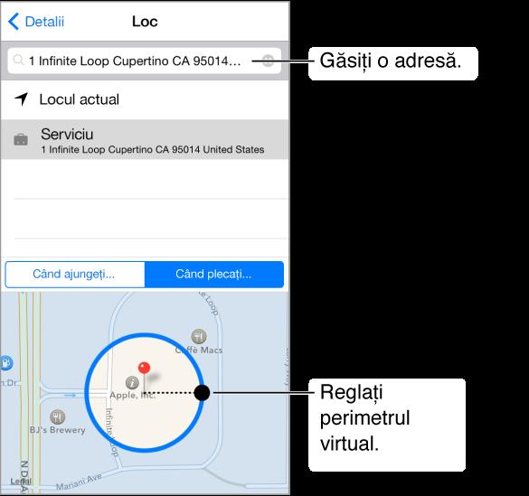 Detaliile localizării unui memento. Apăsați câmpul de căutare din partea de sus pentru a găsi o adresă. O hartă aflată în partea de jos vă indică perimetrul virtual. Trageți pentru a ajusta dimensiunea perimetrului virtual.