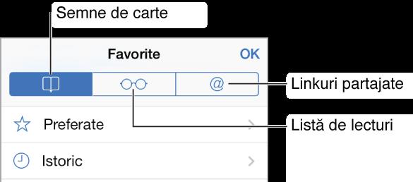 Apăsați butonul Favorite pentru a vedea favoritele și istoricul de navigare, lista de lecturi, și link-urile din tweeturile postate de cunoscuți.