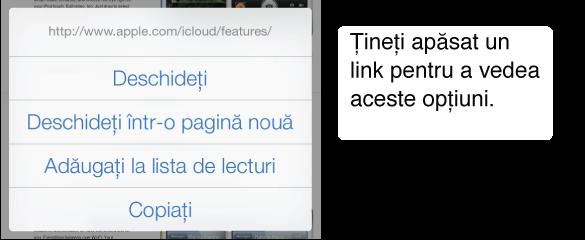 Atingeți și mențineți apăsat un link pentru a vedea adresa de destinație, împreună cu butoanele necesare pentru deschiderea paginii, deschiderea adresei într-o pagină nouă, adăugarea acesteia în lista de lecturi sau copierea adresei.