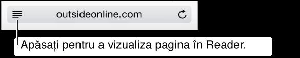 Pentru a reduce aglomerarea unei pagini, apăsați butonul Cititor din capătul din stânga al câmpului Adresă. Rețineți faptul că butonul Cititor nu este disponibil pentru toate paginile.