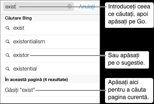 Atunci când scrieți în câmpul Adresă, expresiile de căutare sugerate sunt listate sub câmp. În partea de jos a listei există o intrare pentru căutarea în pagina curentă. Apăsați o sugestie pentru a o căuta sau apăsați butonul Salt de pe tastatură pentru a căuta ce ați scris.
