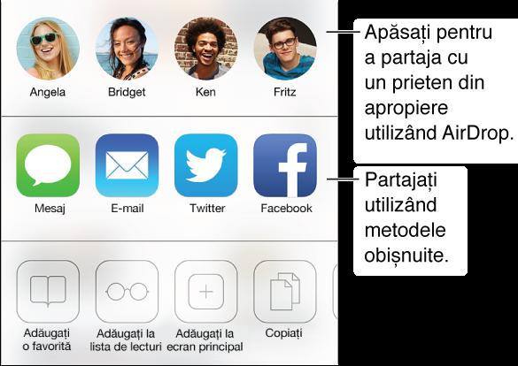 Apăsați butonul Partajare pentru a partaja ce căutați folosind AirDrop, Mesaj, Mail, Twitter sau Facebook sau adăugați pagina ca favorită, adăugați o intrare în lista de lecturi sau o scurtătură pe ecranul principal. De asemenea, puteți folosi butonul Partajare pentru a copia și tipări pagina.