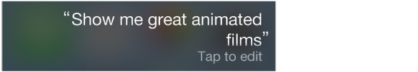 Interogare Siri cu butonul Apăsați pentru editare.