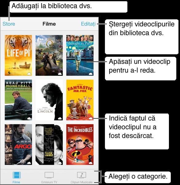 Apăsați un videoclip pentru a-l reda. Alegeți dintre filele cu categorii video din partea de jos a ecranului. Apăsați butonul Store pentru a adăuga în biblioteca dvs. Apăsați butonul Editați pentru a șterge videoclipurile.