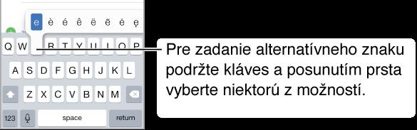 """Obrazovka, na ktorej sú zobrazené alternatívne znaky pre """"e""""."""