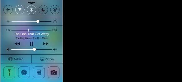 Ovládacie centrum. Na vrchu sa nachádzajú tlačidlá pre režim lietadlo, wi-fi, Bluetooth, Nerušiť a zámok orientácie na výšku, pod nimi sa postupne nachádza ovládanie jasu obrazovky, informácie pre Práve hrá s ovládaním prehrávania audia, tlačidlá AirDrop a AirPlay a na spodku sú tlačidlá vreckové svietidlo, hodiny, kalkulačka a kamera.