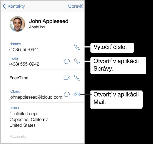 Informačná obrazovka kontaktu. Klepnite na záznam ako napríklad emailová adresa alebo webová stránka aotvorte ho.