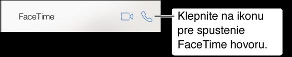 Orezaná obrazovka aplikácie Kontakty s tlačidlami na vykonanie FaceTime videohovoru a audiohovoru.