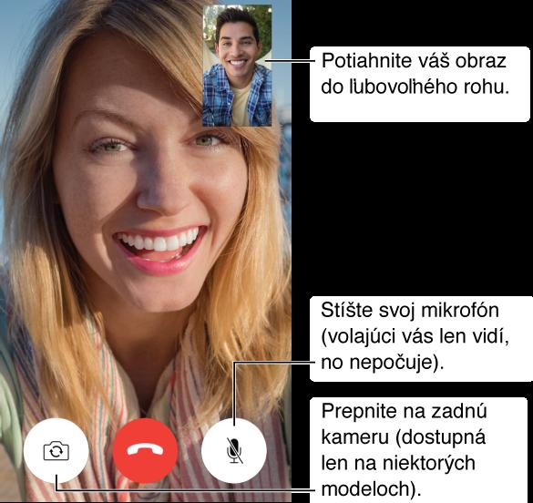 Obrazovka aplikácie FaceTime s prebiehajúcim hovorom a tvárou volaného, ktorá vypĺňa takmer celú obrazovku. Váš obraz je vpravo hore. Vspodnej časti sú zľava doprava tlačidlá Prepnúť kameru, Zložiť a Stíšiť.