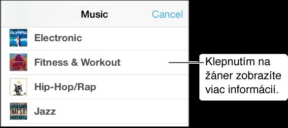 Časť obrazovky s hudobnými žánrami, na ktorej je zobrazená skupina žánrov so zaškrtnutým typom Fitness & Workout (Fitnes a tréning).