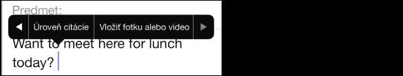 Nová vytváraná emailová správa. Ak chcete zmeniť adresy v poliach Od, Cc alebo Bcc, klepnite na pole Cc/Bcc. Klepnite na kurzor pre zobrazenie menu štýlov a potom klepnutím na Vložiť fotku alebo video priložte k emailu položku. Ak chcete zmeniť podpis Odoslané ziPhonu, prejdite do Nastavenia > Mail, kontakty, kalendáre.