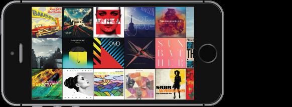 iPhone vorientácii na šírku zobrazujúci stenu albumov.