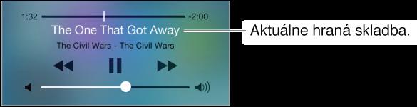 Ovládanie audia v Ovládacom centre. Vo vrchnej časti je indikátor priebehu s polohou prehrávania a nad ovládaním prehrávania je zobrazený názov aktuálne prehrávanej skladby a albumu. V spodnej časti je ovládanie hlasitosti zvuku.